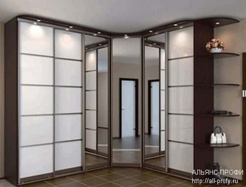 Шкафы купе на заказ: Зеркальные и угловые шкафы купе
