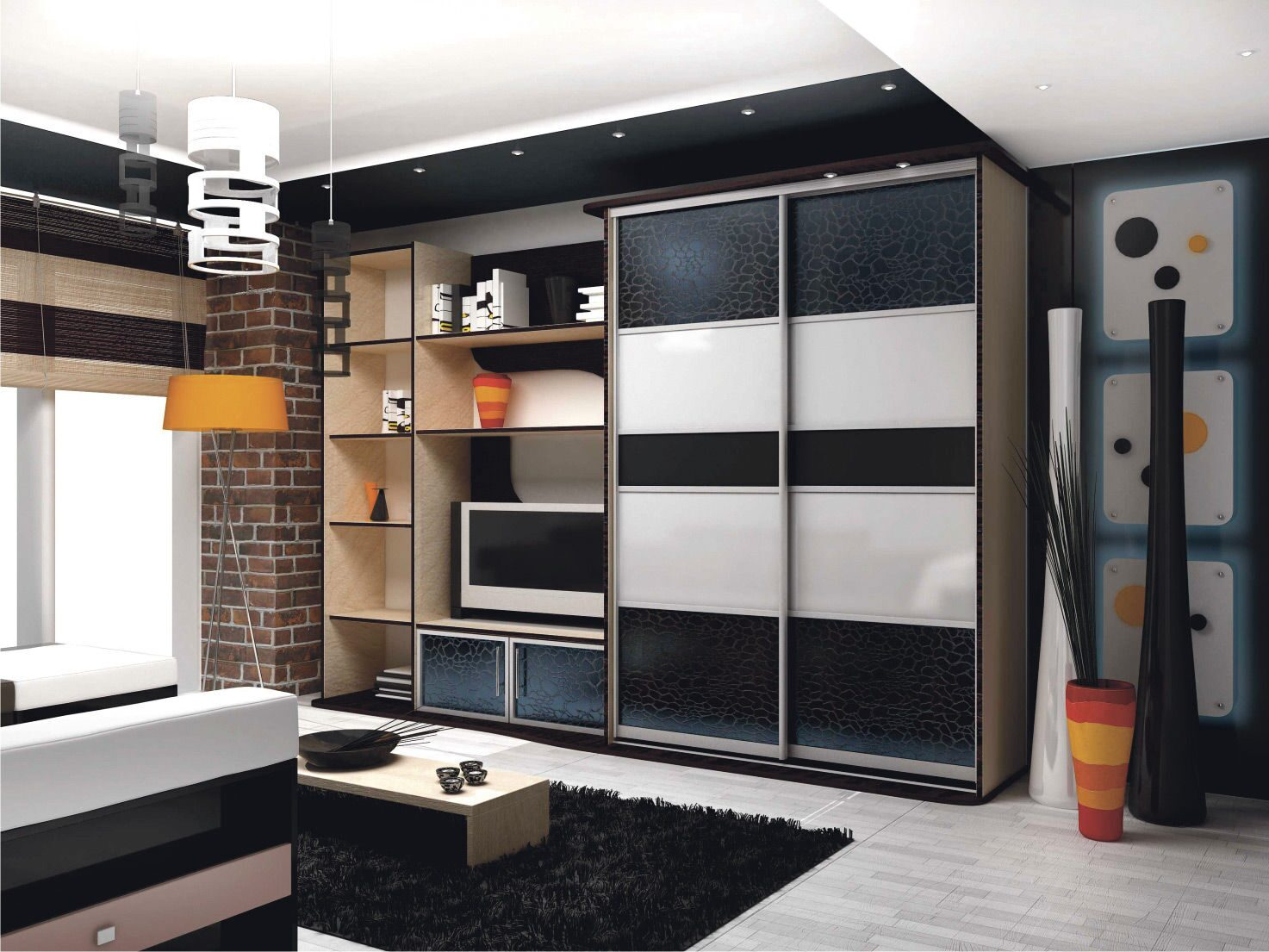 Фото стенок со шкафами купе для залы 6